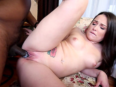 Kinky white girl Lola Foxx nailed with a black monster cock