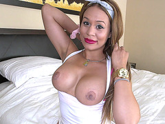 Big tits Latina maid Samantha Bell teases in panties while cleaning
