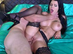 Big tits brunette Peta Jensen spoon fucked in her sweet ass