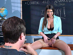 Busty teacher Brooklyn Chase seduce her student with tit licking