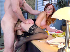 Redhead slut secretary Dani Jensen fucked by her boss doggy style