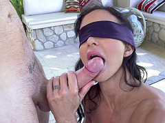 Blindfold mom Jewels Jade sucking young dick in her Jacuzzi