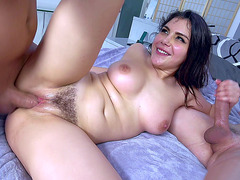 Smashing Italian brunette Valentina Nappi gets ass fucked in FMM