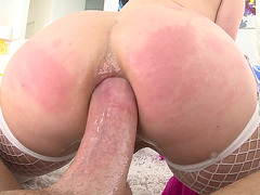 Redhead with glasses Penny Pax Ass fucked in fetish close up