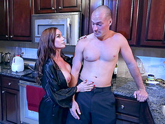 Busty mom Diamond Foxxx enjoys a midnight seduction in her kitchen