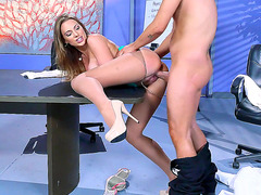 Brazilian babe Juelz Ventura gets her pussy plowed in a meeting room