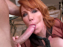 Busty redhead Freya Fantasia relishes dick while sucking Levi Cash