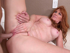 Busty redhead mom Freya Fantasia taking it deep from Levi Cash