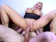 Busty blonde mom Michelle Thorne fucked in lingerie with monster cock