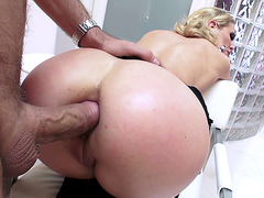 Hot blonde mom Cherie DeVille getting fucked in the ass doggystyle