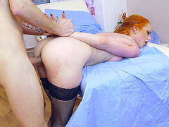Redhead babe Ella Hughes getting dicked by Doctor Danny D doggy style
