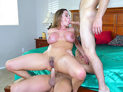 Big tits mom Ariella Ferrera takes two young dicks like in her youth