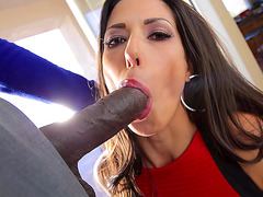 Classy lady in red Alexa Tomas suck big black dick with gusto
