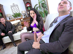 Dirty wife Veruca James sucks dick while her husband watches