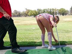 Golf playing teen Karla Kush teases her instructor in short skirt