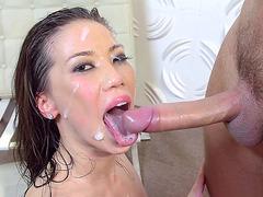 Wet hot Asian slut Kalina Ryu gets a big facial