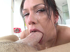 Slutty brunette Samia Duarte gagging on a monster cock deepthroat