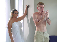 Nasty blonde Assh Lee gives slow motion seduction after shower