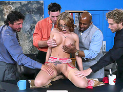 Gorgeous babe Britney Amber gets stripped for a FMMMM gangbang