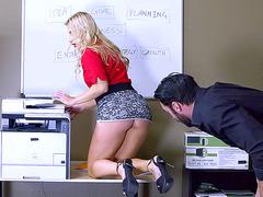 Hot ass blonde boss Ashley Fires gets anal fingering