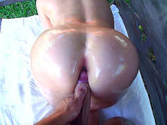Sexy blonde mom Alena Croft oiled up and fucked in garden