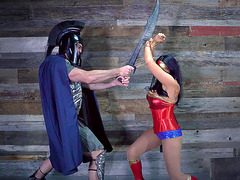 Super hero Romi Rain gets fucked by a spartan villain