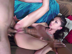 Brunette with a nice piercing Ariana Marie gets her twat destroyed