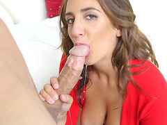 Layla London opens her mouth to suck on a large hard cock