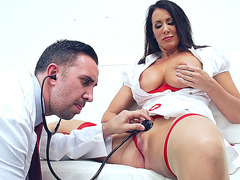 Reagan Foxx is in her uniform, getting licked well