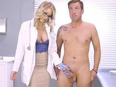 Katie Morgan giving him a nice blowjob