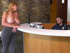 Busty Jazmyn has her eyes all over the security guard