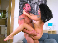 Rina Ellis is in the air while her pussy is rammed hard