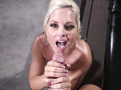 Alena Croft is getting a dick in her mouth to suck