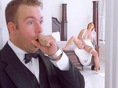 Redhead Lennox Luxe is masturbating in her wedding dress