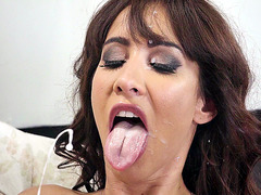 Isis Love is cumshot in her face during a blow job