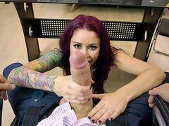 Monique Alexander sucks a big dick in front of the camera