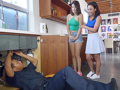 Amara Romani and Izzy Bell have fun with the plumber