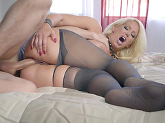 Alura Jenson's man rips her panties apart to fuck her ass