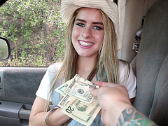 Lilly Ford gets some cash to reveal her snatch