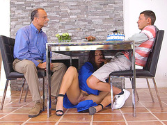 Keisha Grey is giving a blow job under the table to her man