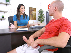 Reagan Foxx is giving a blow job to her salesman