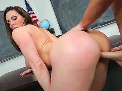 Kendra Lust stands as her meaty cunt is fucked well