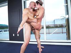 Jada Stevens is suspended in the air, receiving cock