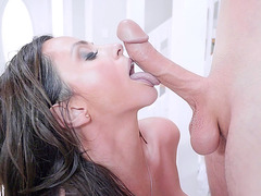 Ariella Ferrera licks the balls of her horny masseur.