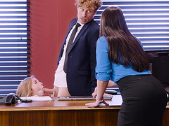 Angela White and Lena Paul have fun in the office