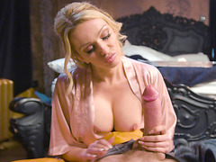 Amber Jayne worships a large cock with her pretty face