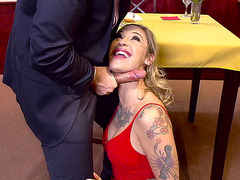 Kleio Valentien is in the restaurant, giving a good blow job