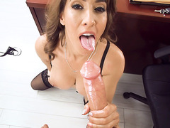 Office bitch Isis Love one her knees gives hot blowjob