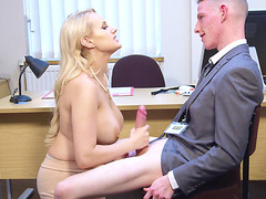 Busty Angel Wicky sucks cock and gives nice titjob