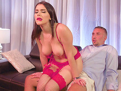 Valentina Nappi fucks lucky guy in reverse cowgirl pose